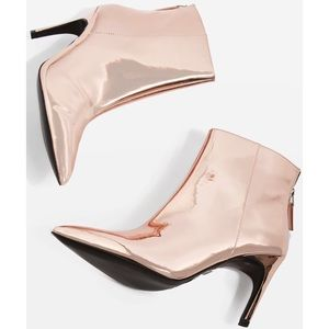 TOPSHOP • Hoopla Rose Gold Ankle Boots